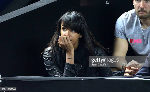Shy'm girlfriend of Benoit Paire of France attends his quarterfinal at the Open 13 an ATP Tour 250 tournament at Palais des Sports on February 19...