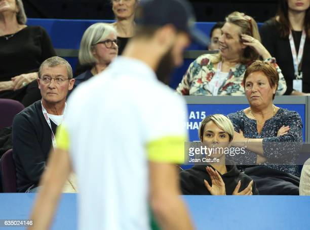 Shy'm Philiipe Paire and Eliane Paire his parents attend the match of Benoit Paire of France on day 6 of the Open Sud de France an ATP Tour 250...