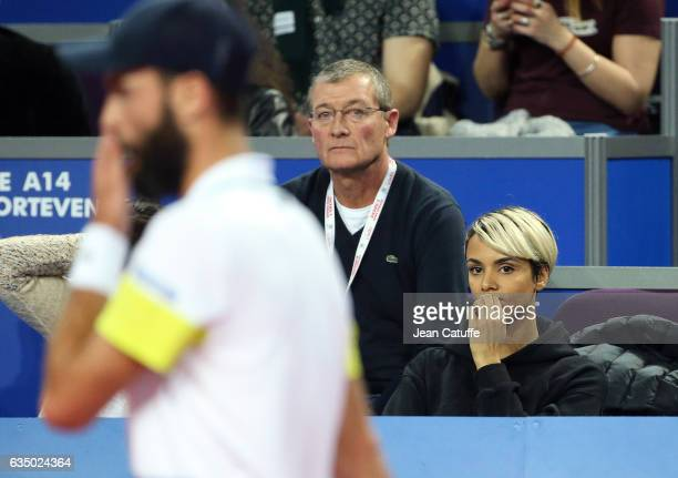 Shy'm Philippe Paire his father attend the match of Benoit Paire of France on day 6 of the Open Sud de France an ATP Tour 250 tournament at Arena...