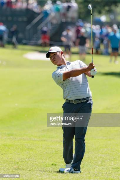 Si Woo Kim of Korea hits his approach shot to during the first round of the Dean Deluca Invitational on May 25 2017 at Colonial Country Club in Fort...