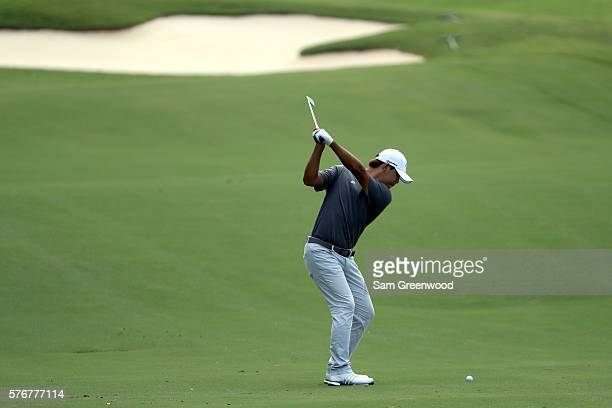 Si Woo Kim of Korea hits off the sixteenth fairway during the final round of the Barbasol Championship at the Robert Trent Jones Golf Trail at Grand...