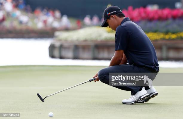 Si Woo Kim of Korea reacts on the 16th green during the third round of THE PLAYERS Championship at the Stadium course at TPC Sawgrass on May 13 2017...
