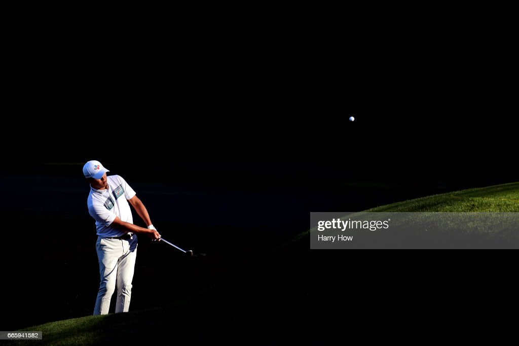 Si Woo Kim of South Korea chips to the 13th green during the second round of the 2017 Masters Tournament at Augusta National Golf Club on April 7, 2017 in Augusta, Georgia.