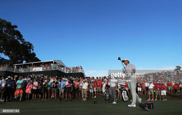 Si Woo Kim of South Korea plays his shot from the 18th tee during the final round of THE PLAYERS Championship at the Stadium course at TPC Sawgrass...