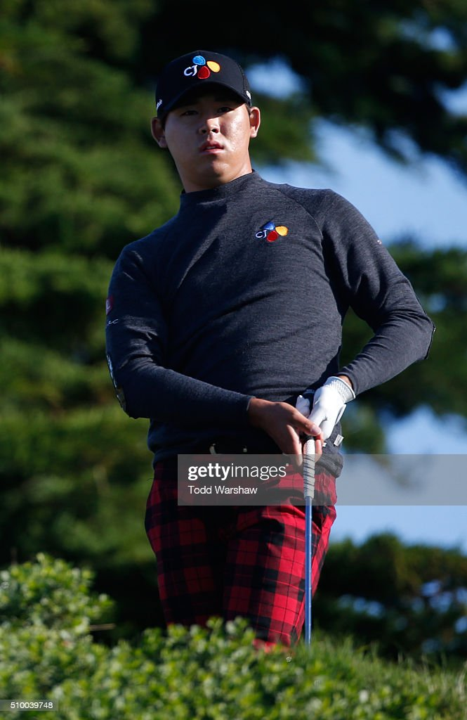 Si Woo Kim of South Korea plays his tee shot on the 11th hole during round three of the AT&T Pebble Beach National Pro-Am at Monterey Peninsula Country Club (Shore Course) on February 13, 2016 in Pebble Beach, California.