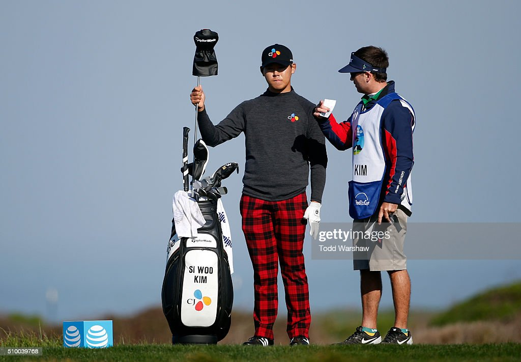 Si Woo Kim of South Korea prepares to play his tee shot on the 12th hole during round three of the AT&T Pebble Beach National Pro-Am at Monterey Peninsula Country Club (Shore Course) on February 13, 2016 in Pebble Beach, California.