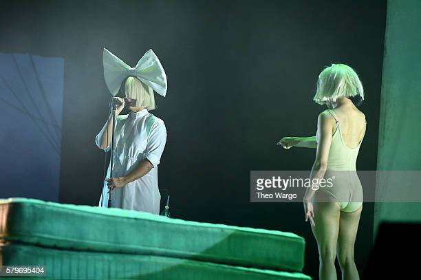 Sia and dancer Stephanie Mincone perform onstage at the 2016 Panorama NYC Festival Day 3 at Randall's Island on July 24 2016 in New York City