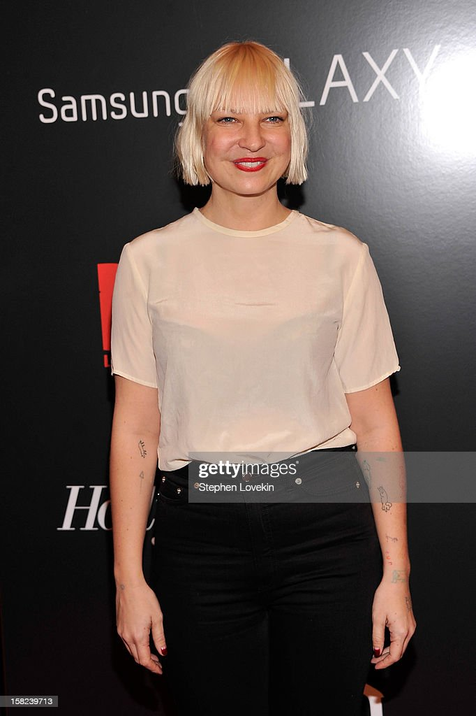 <a gi-track='captionPersonalityLinkClicked' href=/galleries/search?phrase=Sia+Furler&family=editorial&specificpeople=540803 ng-click='$event.stopPropagation()'>Sia Furler</a> attends a screening of 'Django Unchained' hosted by The Weinstein Company with The Hollywood Reporter, Samsung Galaxy and The Cinema Society at Ziegfeld Theater on December 11, 2012 in New York City.