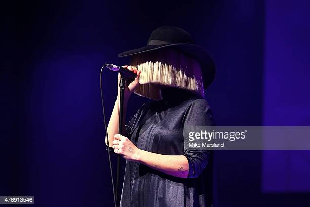 Sia performing live at One For The Boys Fashion Ball hosted by Samuel L Jackson uniting men against cancer to kick start London Collections Men at...