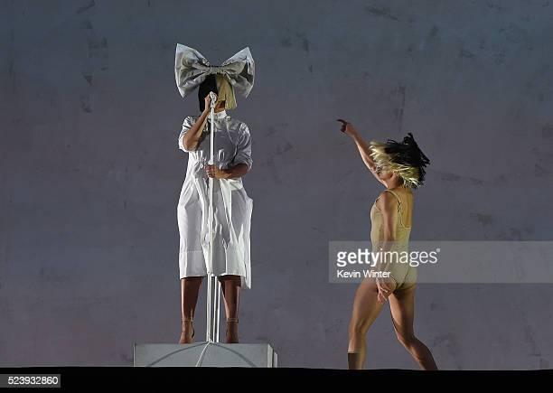 Sia performs onstage during day 3 of the 2016 Coachella Valley Music Arts Festival Weekend 2 at the Empire Polo Club on April 24 2016 in Indio...