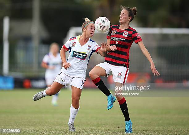 Siahn Bozanic of the Jets competes with Rachael Soutar of the Wanderers during the round 11 WLeague match between the Western Sydney Wanderers and...