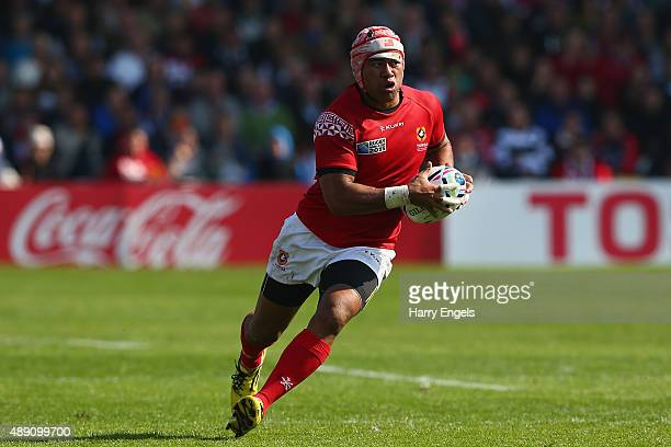 Siale Piutau of Tonga charges upfield during the 2015 Rugby World Cup Pool C match between Tonga and Georgia at Kingsholm Stadium on September 19...