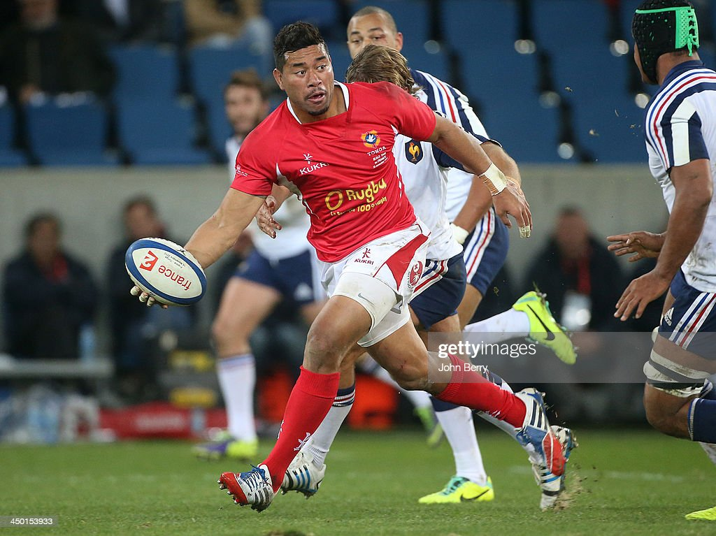 <a gi-track='captionPersonalityLinkClicked' href=/galleries/search?phrase=Siale+Piutau&family=editorial&specificpeople=2498975 ng-click='$event.stopPropagation()'>Siale Piutau</a> of Tonga in action during the international match between France and Tonga at the Oceane Stadium on November 16, 2013 in Le Havre, France.