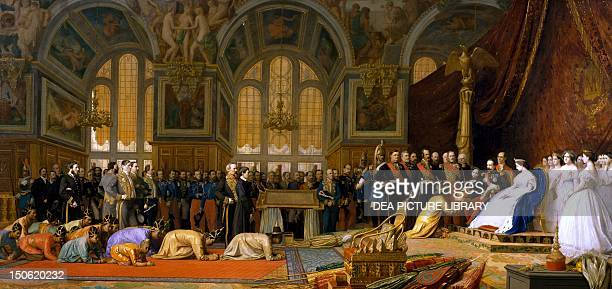 Siam ambassadors being received by Napoleon III in Fontainebleau by JeanLeon Gerome Second Empire France 19th century