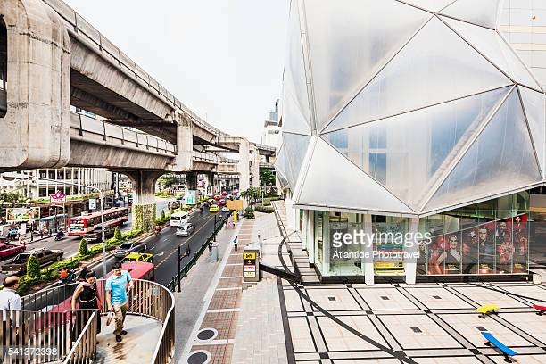 Siam Square, Siam Discovery Shopping Mall and BTS Skytrain structure