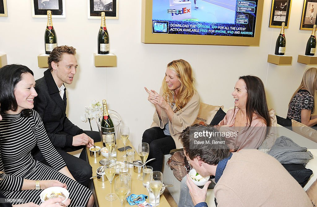 Sian Clifford, Tom Hiddleston, Cat Deeley, guest and Tom Hiddleston attend the Moet & Chandon VIP Suite during day eight of the ATP World Finals at the O2 Arena on November 12, 2012 in London, England.
