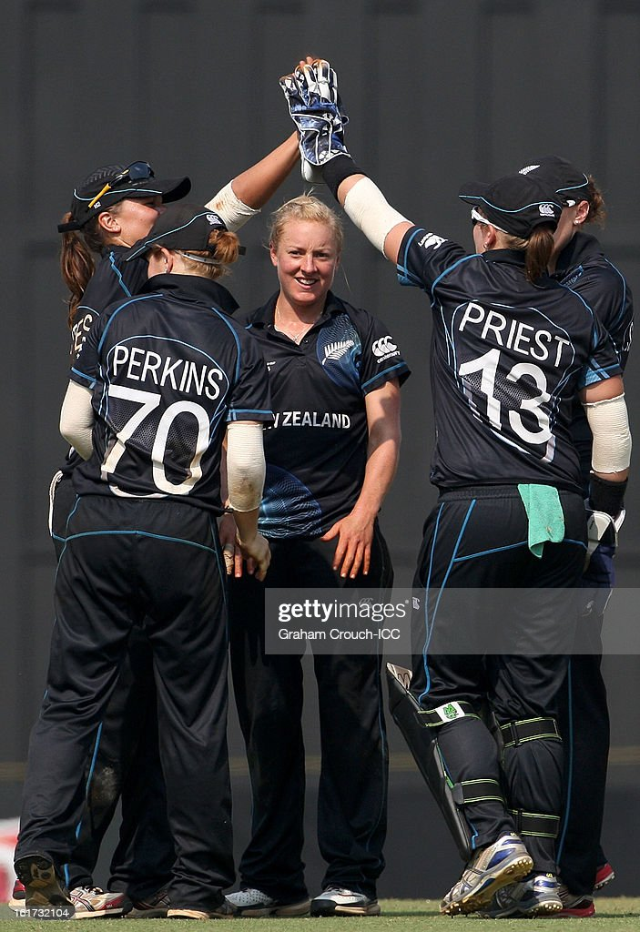 Sian Ruck (middle) of New Zealand celebrates after dismissing Lydia Greenway of England during the 3rd/4th Place Play-Off game between England and New Zealand at the Women's World Cup India 2013 at the Cricket Club of India ground on February 15, 2013 in Mumbai, India.