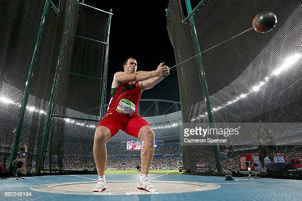 Siarhei Kalamoyets of Belarus competes in the Men's Hammer final on Day 14 of the Rio 2016 Olympic Games at the Olympic Stadium on August 19 2016 in...