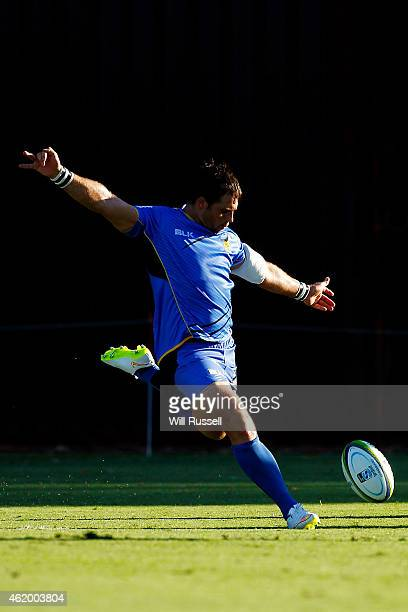 Sias Ebersohn of the Force kicks the ball in to touch during the Super Rugby trial match between Western Force and ACT Brumbies at McGillivray Oval...