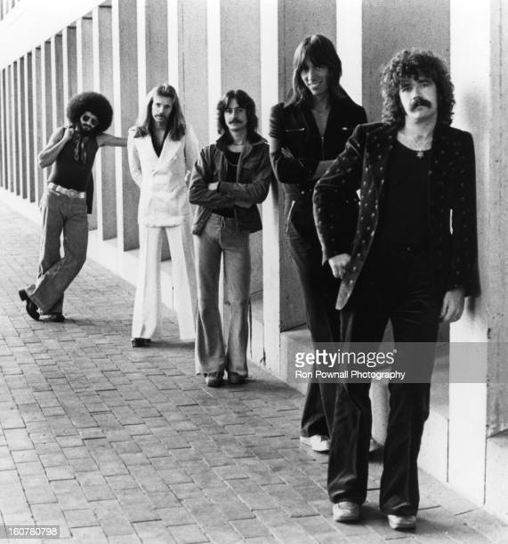 Sib Hashian Fran Sheehan Barry Goudreau Tom Scholz and Brad Delp of the rock group 'Boston' pose for a portrait holding their guitars in circa 1976