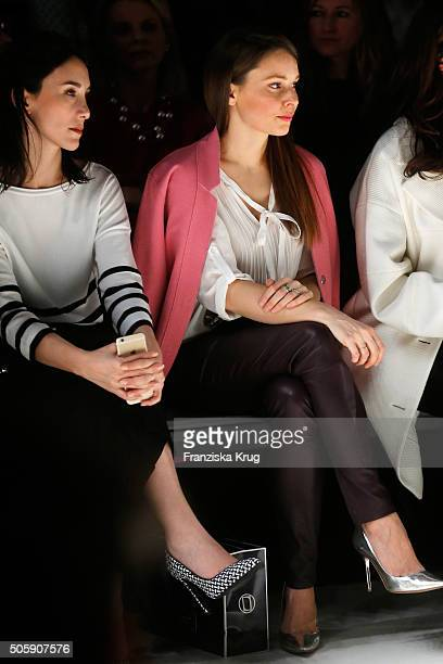 Sibel Kekilli and Mina Tander attend the Laurel show during the MercedesBenz Fashion Week Berlin Autumn/Winter 2016 at Brandenburg Gate on January 20...