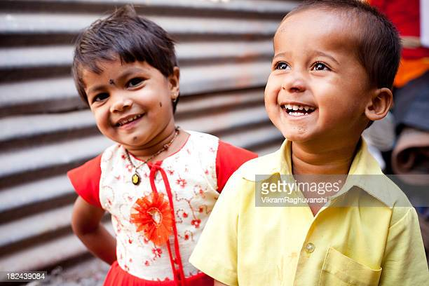 Sibling Brother Sister Cheerful Rural Indian Children Natural Light Horizontal