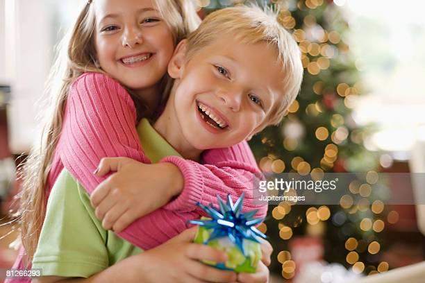 Siblings at Christmas