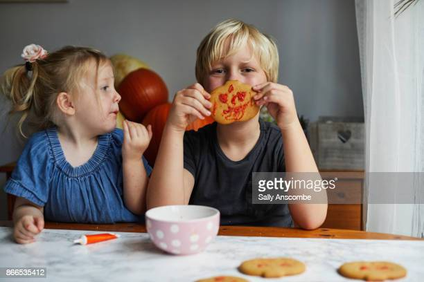 Siblings decorating biscuits together