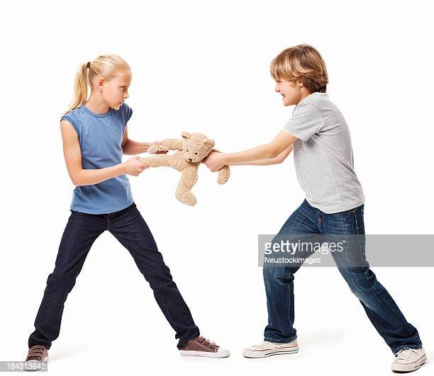 Siblings Fighting Over a Toy - Isolated
