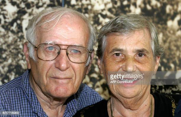 Siblings Hilda Shlick of Ashdod in southern Israel and Simon Glasberg of Ottawa pose for a photograph at the Yad Vashem Holocaust Museum complex in...