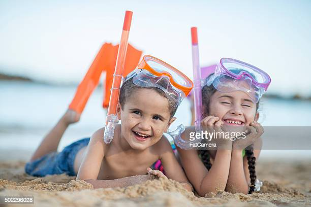 Siblings Ready to Go Swimming on Vacation