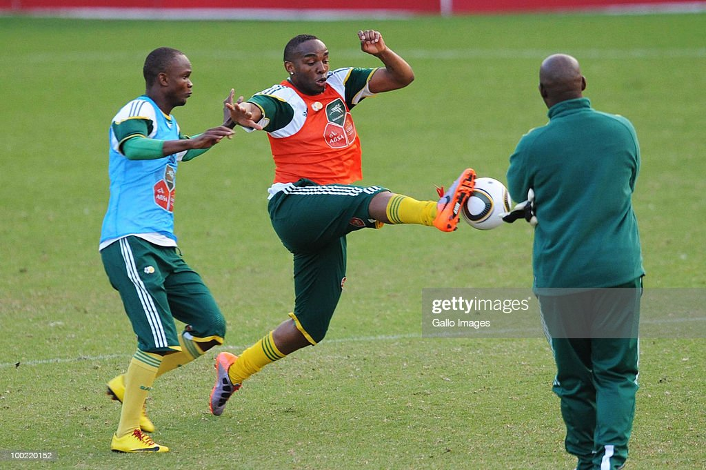 Siboniso Gaxa and Benni McCarthy in action during the Bafana Bafana training session at Marks Park Grounds on May 21 2010 in Johannesburg South Africa