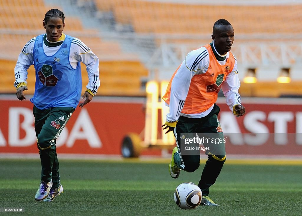 Siboniso Gaxa and Steven Pienaar during South Africa national football team training session at Soccer City Stadium on August 10 2010 in Johannesburg...