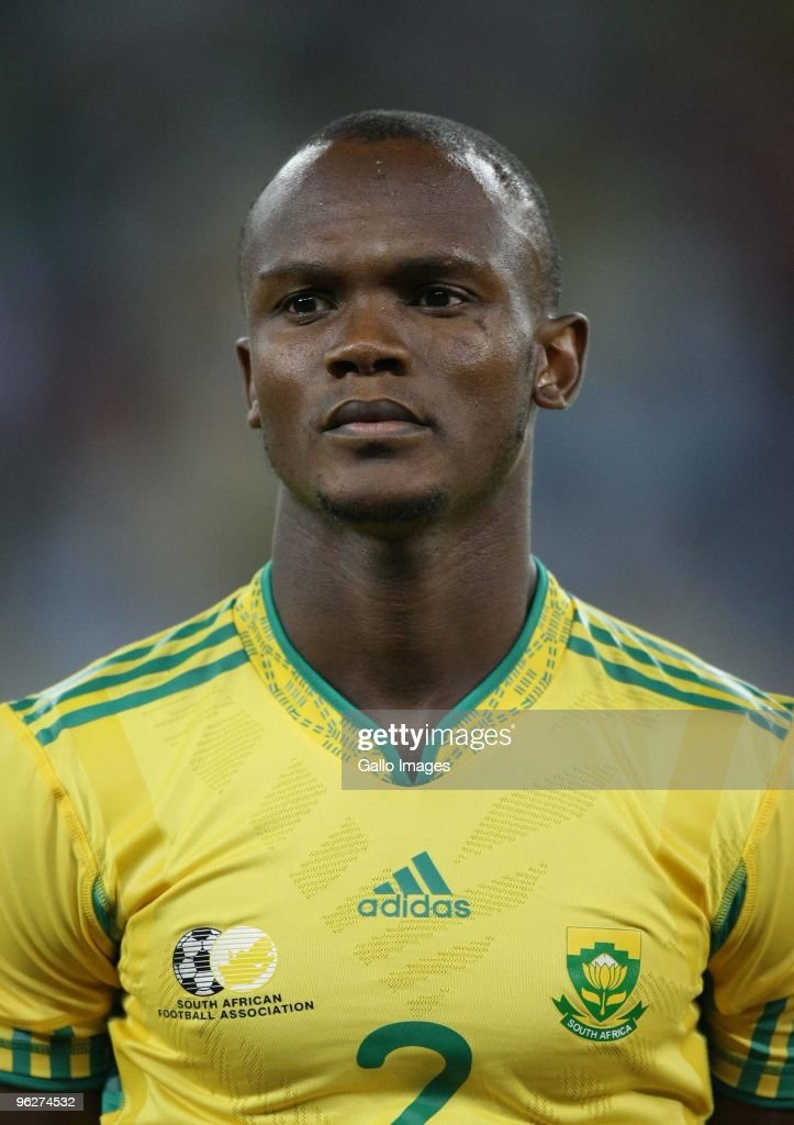 Siboniso Gaxa of Bafana Bafan poses for a photo during the International friendly match between South Africa and Zimbabwe at Moses Mabhida Stadium on...