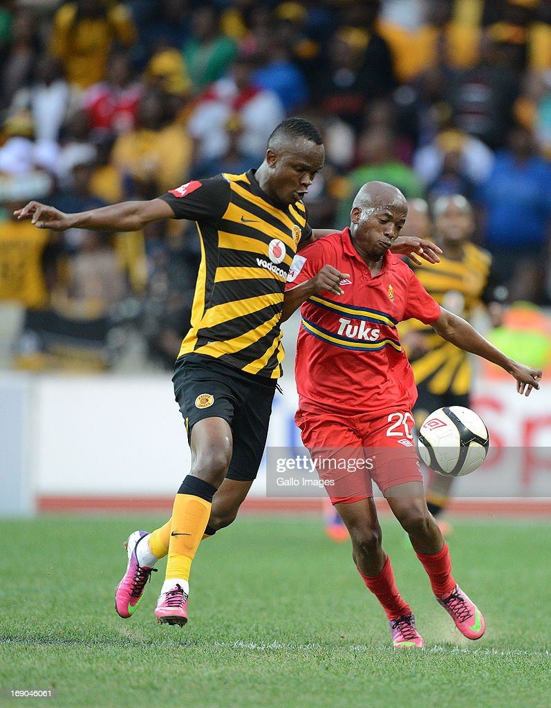 Siboniso Gaxa of Chiefs competes with Aubrey Ngoma of Tuks during the Absa Premiership match between University of Pretoria and Kaizer Chiefs at...