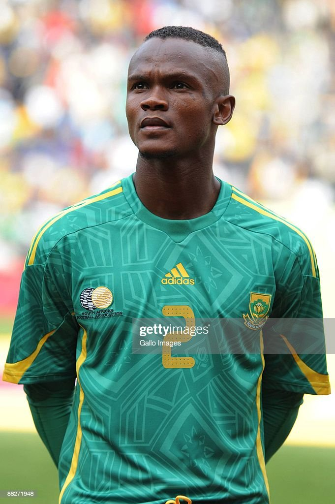 Siboniso Gaxa of Soth Africa lines up before the International friendly match between South Africa and Poland from Orlando Stadium on June 6 2009 in...