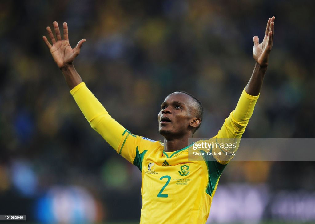 Siboniso Gaxa of South Africa celebrates the first goal during the 2010 FIFA World Cup South Africa Group A match between South Africa and Mexico at...