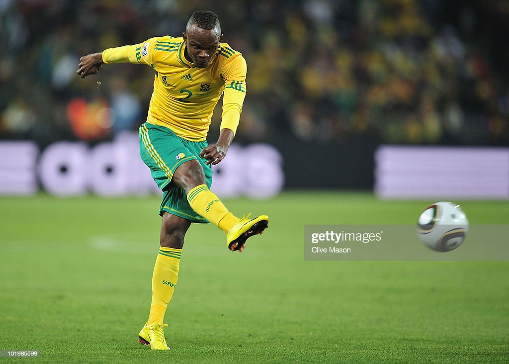 Siboniso Gaxa of South Africa clears the ball during the 2010 FIFA World Cup South Africa Group A match between South Africa and Mexico at Soccer...