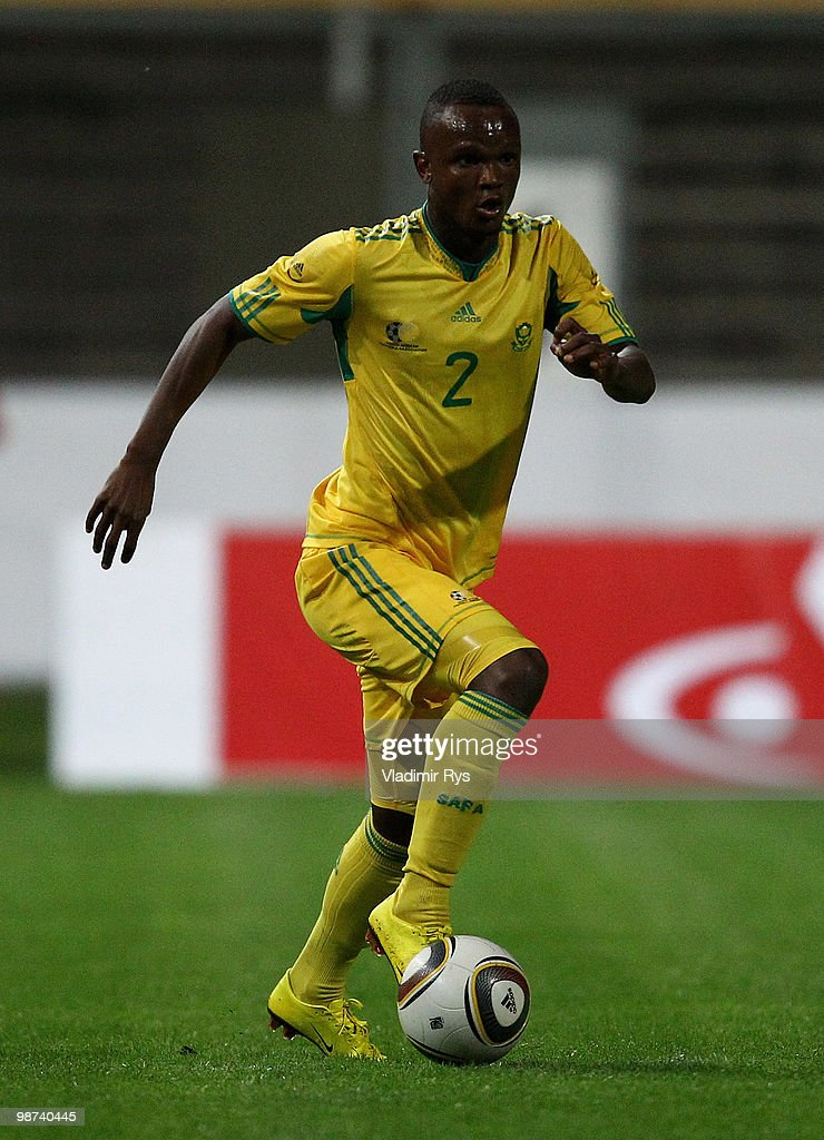 Siboniso Gaxa of South Africa controls the ball during the international friendly match between South Africa and Jamaica at Bieberer Berg Stadium on...