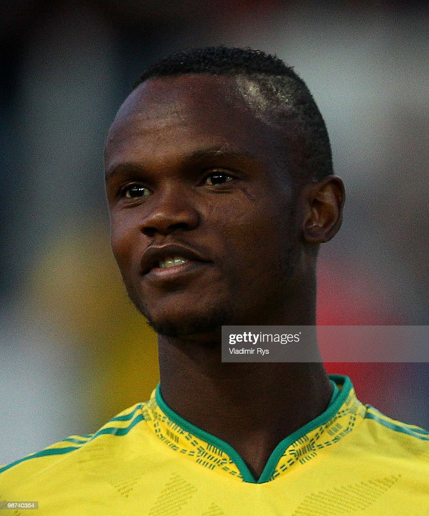 Siboniso Gaxa of South Africa is pictured ahead the international friendly match between South Africa and Jamaica at Bieberer Berg Stadium on April...