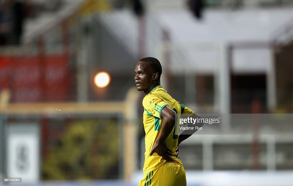 Siboniso Gaxa of South Africa is pictured during the international friendly match between South Africa and Jamaica at Bieberer Berg Stadium on April...