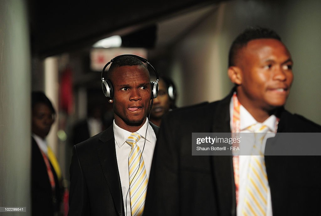 Siboniso Gaxa of South Africa leaves through the mixed zone after the 2010 FIFA World Cup South Africa Group A match between France and South Africa...
