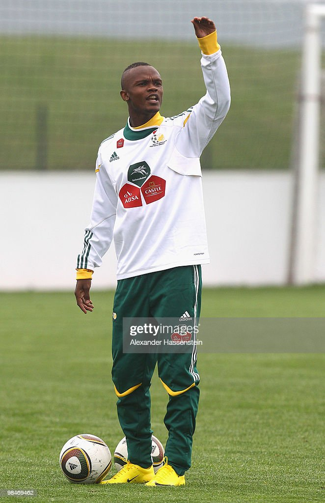 Siboniso Gaxa of the South African national football team reacts during a training session of the South African national football team on April 15...
