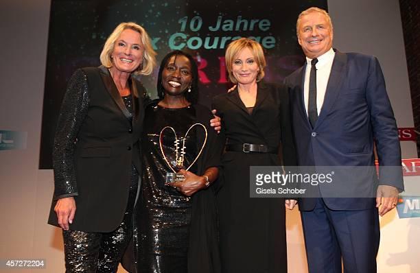 Sibylle Bassler Mona Lisa Patricia Kaas Auma Obama founder 'Sauti Kuu' Christian Courtin Clarins CEO Clarins attend the Prix Courage Award 2014 on...