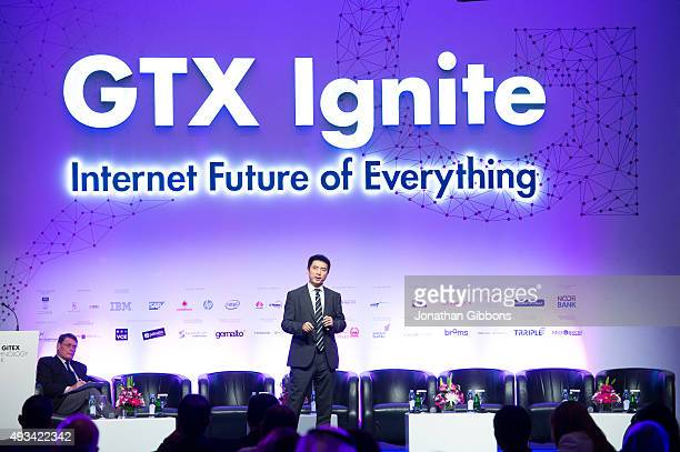 Sicheng Yu Vice President of Alibaba speaks during a conference at the 35th GITEX Technology Week at Dubai World Trade Centre on October 18 2015 in...