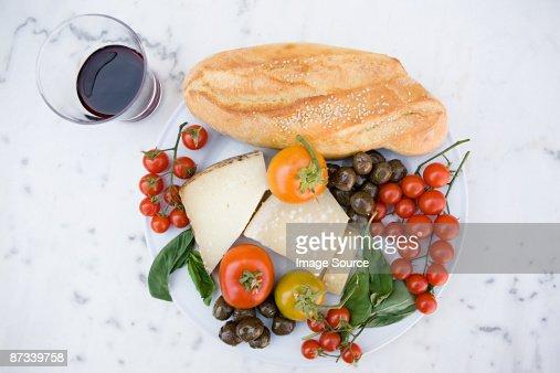 Sicilian food and wine : Stock Photo