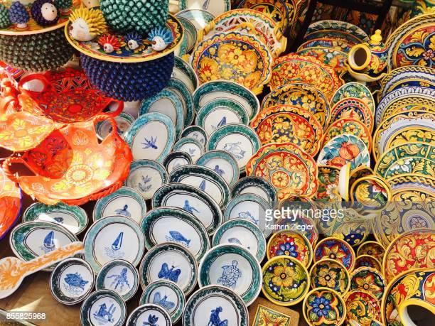 Sicilian pottery at street market