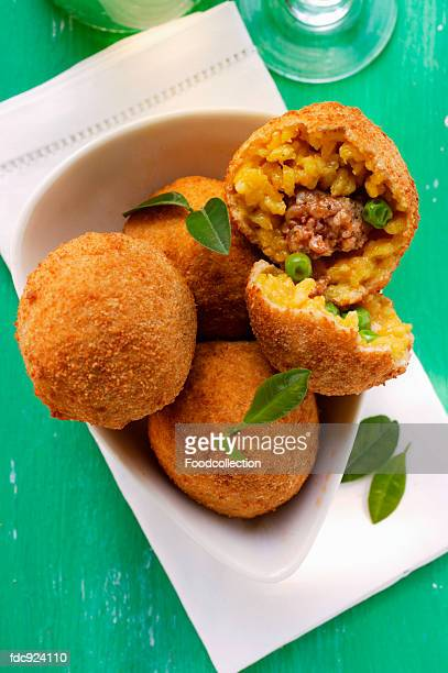 Sicilian rice balls with mince stuffing