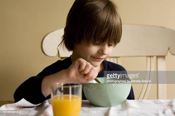 Sick Boy Eating Soup