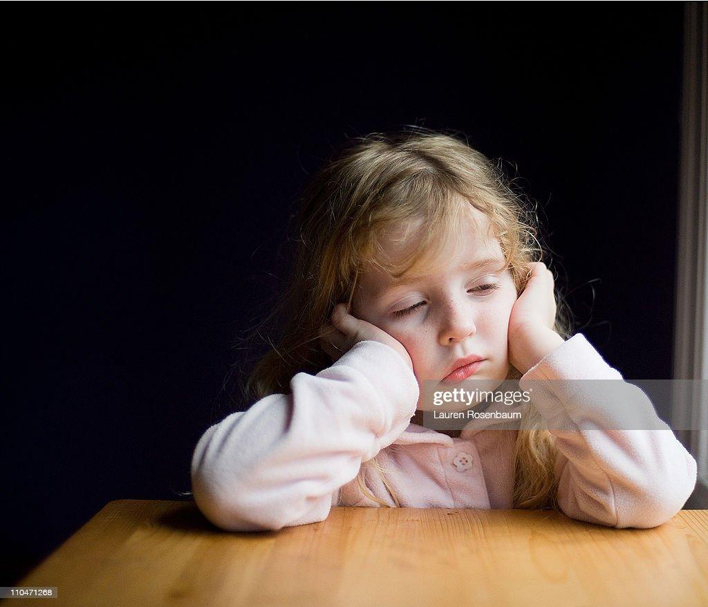 Sick little girl : Stock Photo